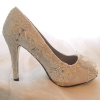 Ivory Lacey Peeptoed Wedding shoesHigh by everlastinglifashion