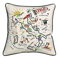 HAND EMBROIDERED COUNTRY PILLOWS | Italy, Ireland, England, France, Israel, Map | UncommonGoods