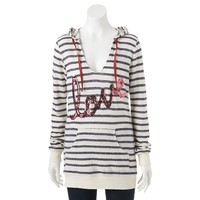 Miss Chievous Striped Sequin ''Love'' Hoodie - Juniors (Green)