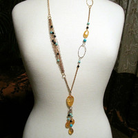Citrine Turquoise Black Onyx Pendant Chain Necklace