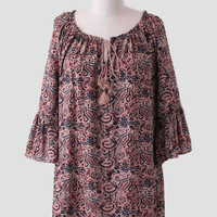 Across The Desert Curvy Plus Paisley Dress