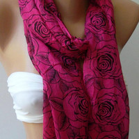 Shawl for Summer / Pink  Roses - Elegance Shawl / Scarf / soft and light-