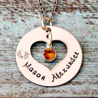 "Birthstone Hand Stamped Personalized Mommy Necklace - 24"" Silver Plated Chain"