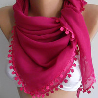 Fuchsia - Shawl with Lace -- Turkish Shawl ---Anatolians Scarf -- Very Soft cotton fabric--