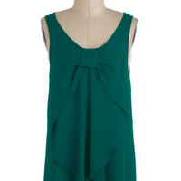 ModCloth Mid-length Sleeveless Hello, Bow! Top in Evergreen