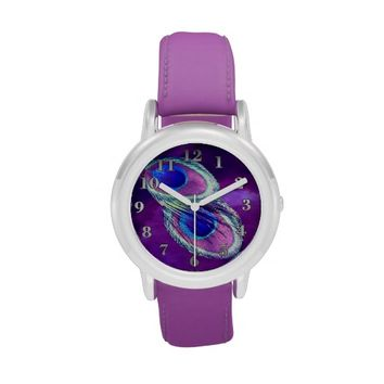 Peacock Feather Purple Leather Strap Watch