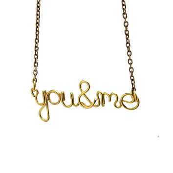 Wire name personalized necklace, brass necklace, personalized