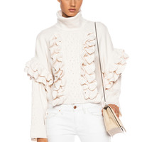 Cable and Ruffle Crochet Wool Turtleneck in Ivory