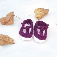 Knitted New Born Baby Booties T Bar Shoes  Girls Plum Pink