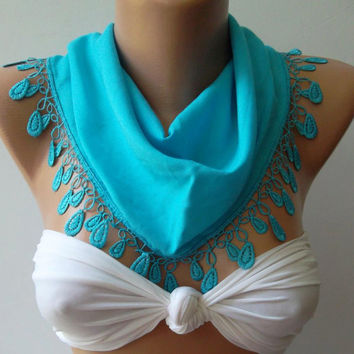 Blue - Elegance  Shawl / Scarf with Lacy Edge-