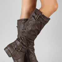 Riding Buckle Knee High Boot