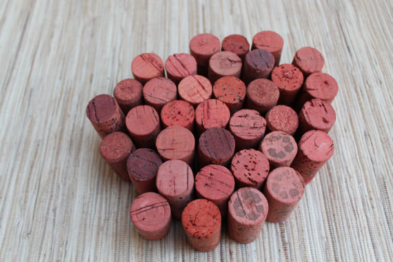 Craft Wine Corks - Coral Colored Corks for crafting, upcycle, craft, DIY wine corks, supply