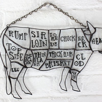Stained Glass Butcher Diagram Cow