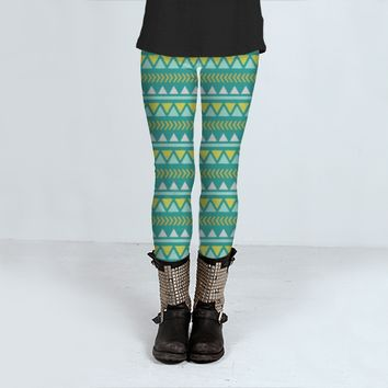 Teal aztec tribal Pattern by Allyson Johnson (Leggings)