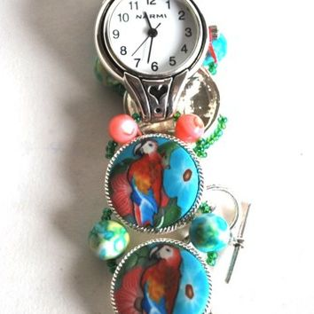 Ladies Watch, Macaw Parrot, Handmade, Stainless Steel, Beaded Band