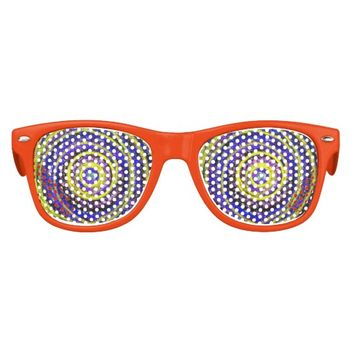 Blue and Yellow Swirls Kids Party Shades