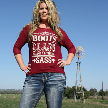 Wine Boots Class and A Little Sass Shirt