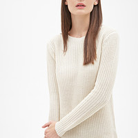 FOREVER 21 Oversized Braided Knit Sweater Cream