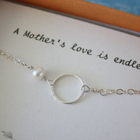 Mothers Bracelet, Mothers Gift, Bridesmaid Thank You Card, White Pearl, Silver, Mother of the Bride