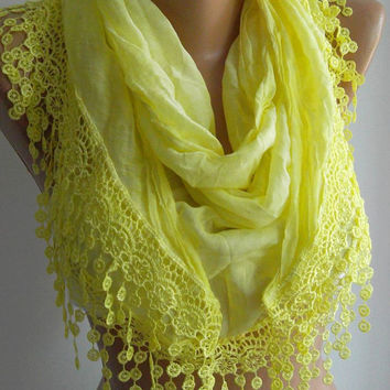 Lemon   / Elegance  Shawl - Scarf with Lacy Edge-soft and light--