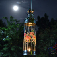 Candle Glass Lantern Rose Flower Painting Thai Vintage Home Decorate and Wedding Lights
