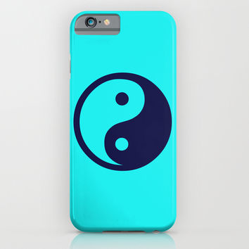 Harmony Yin Yang Navy Turquoise iPhone & iPod Case by Beautiful Homes
