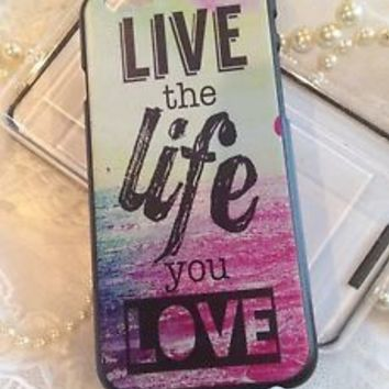 "iPhone 6 4.7"" Case Cover Shell Pink Live Life Love Quote Colorful Design Bling"