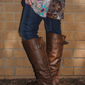 Brown Studded Riding Boots