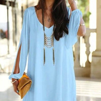 COLD SHOULDER LIGHT BLUE SHIRT DRESS | Dresses | Women Clothes | KOOGAL