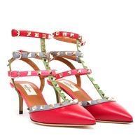 VALENTINO | Rockstud Matte Leather Kitten Heels | Browns fashion & designer clothes & clothing