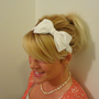 Customizable stretch white bow headband for adult/kid/infant