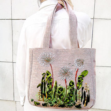 EXCLUSIVE EMBROIDERED HANDBAG-Dandelions Bag, green, light brown Diaper bags - Diaper Bag - Shoulder bag - Bags and Purses - Shopping Bag