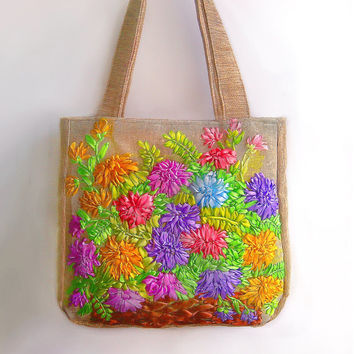 Chrysanthemum bag - Tote bag - Violet, yellow Tote bag -  Tote Bags - Handbag - Shoulder bag - Women Bag -gift Christmas - New Year gift