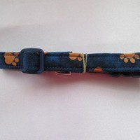 Fabric Dog Collar Dark Blue with tan puppy paws With Dark Blue buckle