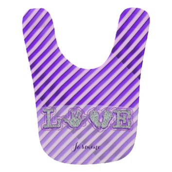 Made With Love (Baby) (Purple) Baby Bib