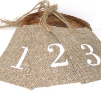 Table numbers,  rustic table numbers,  weddings , party decor , burlap,  paper party supplies, wedding table number