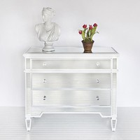 Worlds Away Cary White Mirrored Chest - Worlds-away-cary-wh  | Candelabra, Inc.