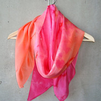Magenta Pink to Orange Scarf - hand dye-painted
