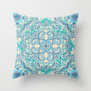 Gypsy Floral in Teal & Blue Throw Pillow by micklyn