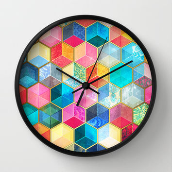 Crystal Bohemian Honeycomb Cubes - colorful hexagon pattern Wall Clock by micklyn
