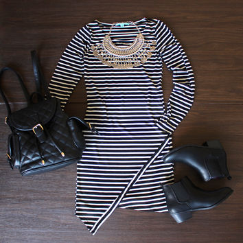 asymmetric striped bodycon dress ootd soft grunge edgy gypsy rebellious chelsea boots booties black and white