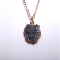 Small Grey Druzy Pendant Necklace With Optional 14k Gold Filled Chain
