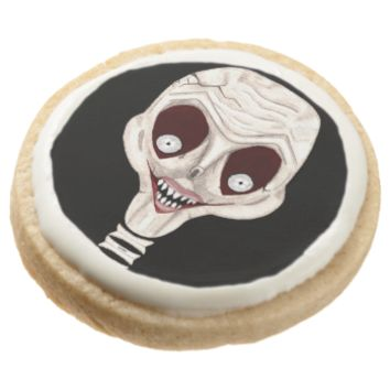 Ghoulish Skull Round Sugar Cookie