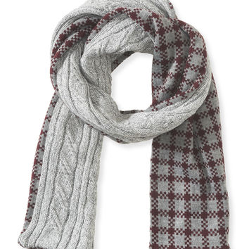 Aeropostale Cable-Knit Check Reversible Scarf - Med Heather Grey, One