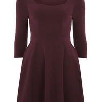 Wine Sweetheart Neck Dress