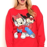 Plus Size Long Sleeve French Terry Top with Mickey and Minnie Screen