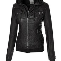Made By Johnny Women's 2-For-One Hooded Faux leather Jacket S CHARCOAL