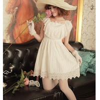 Women Cotton And Polyester Square Neckline Cap Sleeve Beige Fitting Dress S/M@MF7207 - Fashion Dresses - Women