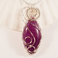 Wire Wrapped Jewelry, Pendant Necklace, Purple Dragon Vein Agate, Handmade, elainesgems