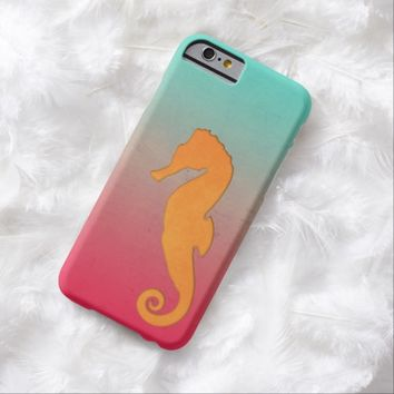 Seahorse silhouette orange turquoise iPhone 6 case